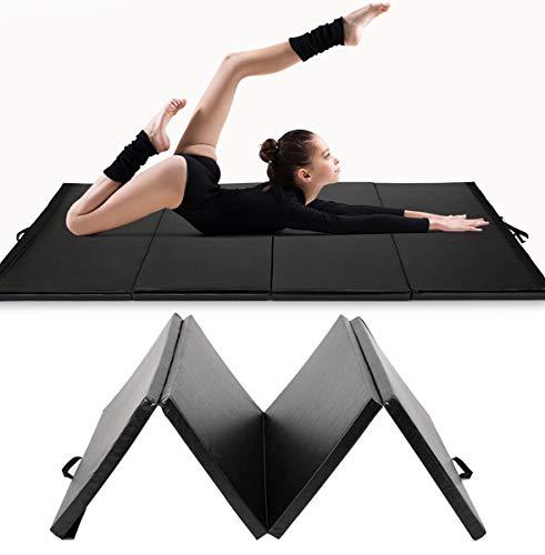 RELAX4LIFE Weichbodenmatte klappbar, tragbare Turnmatte aus PU und EPE-Schaum, rutschfeste Yogamatte & Klappmatte & Sportmatte für Heimgymnastik Fitnessstudio, 300 x 120 x 5cm (Schwarz)