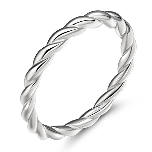 925 Sterling Silver Ring 2mm Stacking Twist Rope Ring Engagement Wedding Band 6