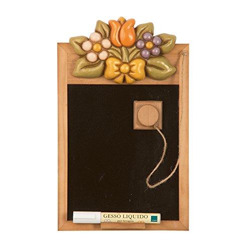 THUN Country Lavagnetta con Fiori, Legno, Ceramica, Multicolore, 42.8 x 27.5 x 6.7 cm