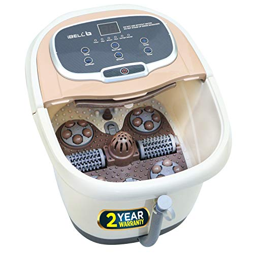 iBELL FTM500A Foot Massager Machine with Auto-Rollers, Foot Spa with Temperature Control, Bubble Bath, Vibration & Water Heating Technology. For Blood Circulation, Pain Relief & Relaxation (Brown)