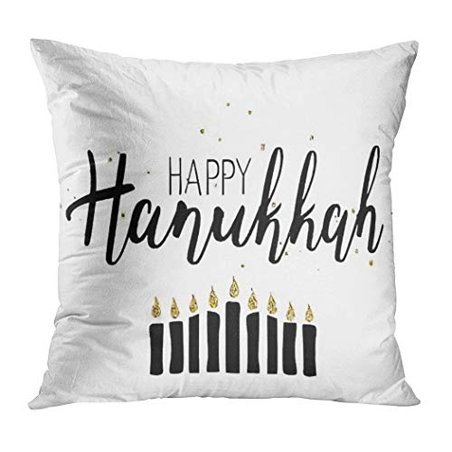 Hanukkah Throw Pillow Cover,Happy Hanukkah Sign White Bac Chanukah,Cushion Cases Shams for Indoor Outdoor Home Decor Living Room Bedroom Office Cotton Pillowcase,16'x16'
