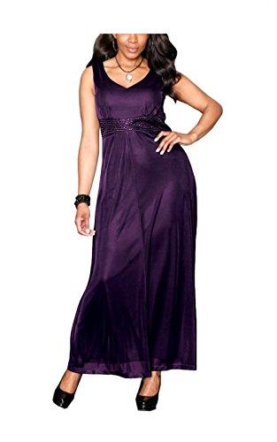 M.I.M. Damen-Kleid Abendkleid mit Perlen Violett, Lila, 23 (46)