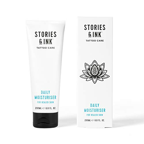 Stories & Ink Tattoo Care - Daily Moisturizer - Damage Control For Tattooed Skin Fights Fade, Deeply Moisturizes and Supports Intensity of Ink - 100% Vegan & Cruelty Free Made in UK - 6.8 FL. OZ