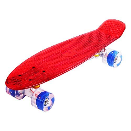 [Maronad.GCP] - Skateboard Trasparente con Ruote Illuminate a LED ABEC-7, 22'