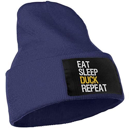 Zhgrong Skull Beanie Strickmütze Cap Head Cap Eat Sleep Hoop Repeat Beanie Men Women - Unisex Chunky Soft Baggy Skull Knit Hat Cap
