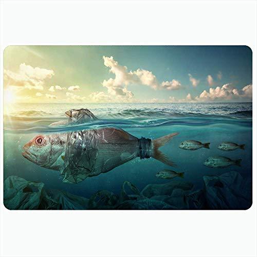 Alfombra de baño interior para baño Alfombrillas antideslizantes Peces de coral entre arrecifes Bolsa de burbujas de plástico Contaminación del océano Diseño de la naturaleza Snorkel Dibujo Baño salva