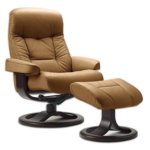 Fjords Leather Norwegian Reclining Chair with Ottoman | Genuine Cappuccino Leather | Espresso Wood