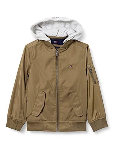 Tommy Hilfiger Hooded Satin Bomber Jacket Chaqueta, Spring Olive, 10 para Niños