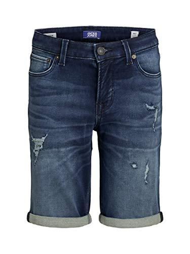 JACK & JONES Jungen Jjirick Jjicon Ge 007 I.k Jr Jeans Shorts, Blue Denim, 164 EU