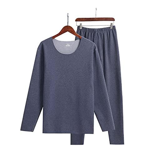 WASDY Conjunto de Ropa Interior térmica para Hombre, Camiseta de Manga Larga con Capa Base de Invierno y Calzoncillos Largos para Entrenamiento,Azul,XL