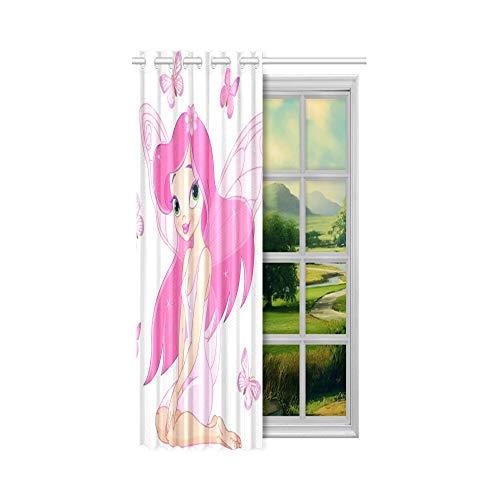 Günstige Verdunkelungsvorhänge Nettes kleines Mädchen mit Schmetterlingsflügeln Günstige Vorhänge für Wohnzimmer 52x63 Zoll (132x160cm) 1 Panel Verdunkelungsvorhang Vorhang für Schlafzimmer Wohnzimme