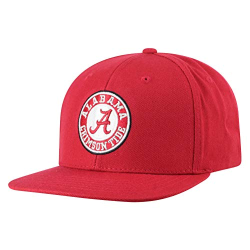Top of the World Alabama Crimson Tide Men's Flat Brim Fitted Hat Team Icon, Adjustable
