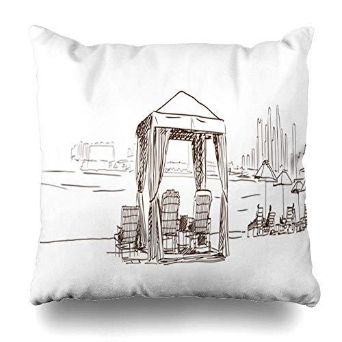 Ducan Lincoln Pillow Case Dekokissenbezug Arab Sketch Arabisches Zelt Am Strand Vereinigte Arabische Emirate Abstrakt Arabisch Draw Drawing Design Reisekissenbezüge Quadratischer Kissenbezug
