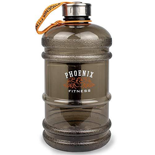 Phoenix Fitness RY898 Bottiglia di acqua per bevande con tappo a vite in acciaio con cinturino, bottiglia di idratazione, 2L, Glassato