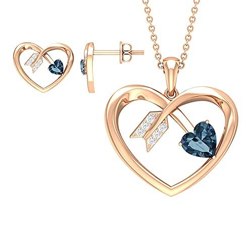 1 CT creado corazón de Alejandrita y flecha conjunto de joyas con diamante azul