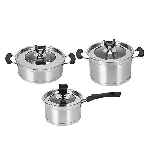 Set di pentole e padelle in acciaio inossidabile Forniture da cucina Pentola per zuppa Friggere Casseruola per uso domestico Resistenza alle alte temperature per uso domestico