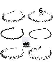 WOWOSS 6 st svarta hårband för män kvinnor flera stilar metall vågigt pannband flexibelt hårband tillbehör för pojkar flickor + 200 st hårringar med förvaringslåda