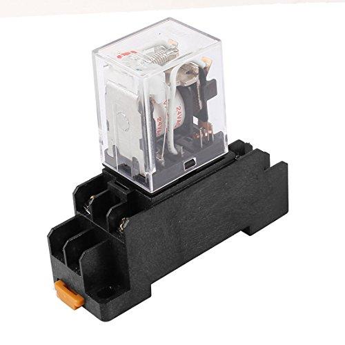 sourcingmap Courant Alternatif 24V 2RT bobine 8 LED rouge Pin Relais puissance universel avec Base Prise