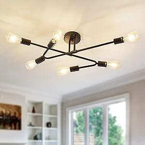 ASGYISA 6-Light Vintage Chandelier,Matte Black Metal Semi Flush Mount Sputnik Ceiling Light Fixtures,Ceiling Lighting for Dining Room Living Room Bedroom