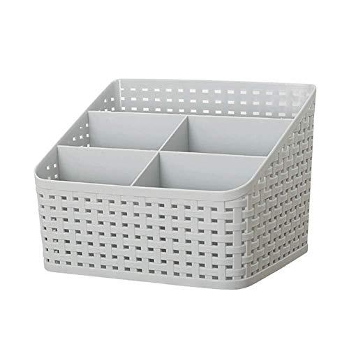 Skitior Apilable Caja de Almacenamiento del Organizador del Dormitorio apilable, Caja de Caddy de plástico Trenzado de ratán con Soporte para Escritorio, Caja para el Maquillaje, Pincel