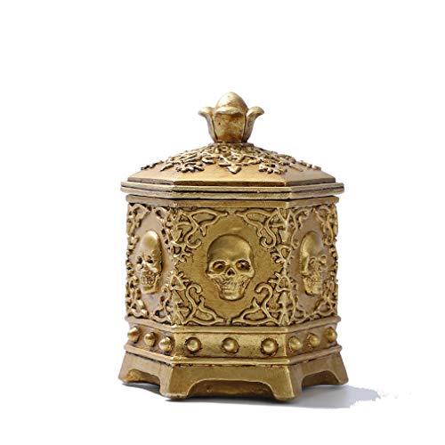 QSQWL Retro Schädel Schmuckkasten Hexagonal Gold-Schmuck Storage Box Portable Schmuckaufbewahrung Dekorative Menschlichen Schädel Und Schmuckschachtel,Gold