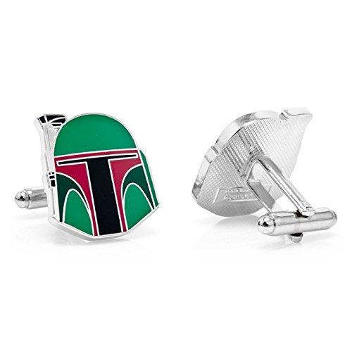 Beaux Bijoux Boutons de manchette plaqué casque de Boba Fett de Star Wars Accessoire pour chemise d'homme