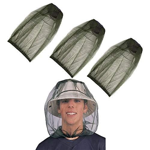 cholinchin 3 Pakung Moskitonetz Hut, Atmungsaktiv Gesicht Mesh Kopf Abdeckung Moskito Kopfnetz, Insektenschutz Hut Moskitonetz Kopf Mückenschutz für Aktivitäten im Freien Wandern Camping