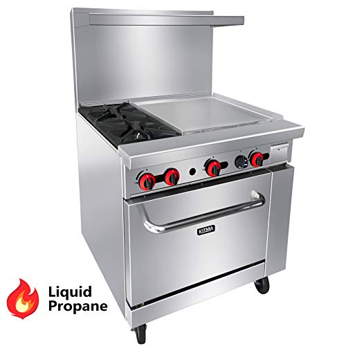"""Commercial 36"""" Propane Gas Range Stove, KITMA 2 Burner 24 Inch Griddle With Single Standard Oven Stainless Steel Kitchen Equipment, 121,000 BTU"""