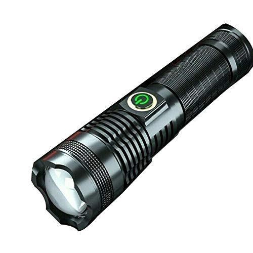 100000 lúmenes xhp70 linterna LED más potente linterna con zoom USB recargable, 5 modos linterna recargable USB, con zoom, impermeable para acampar al aire libre incluida 26650 batería