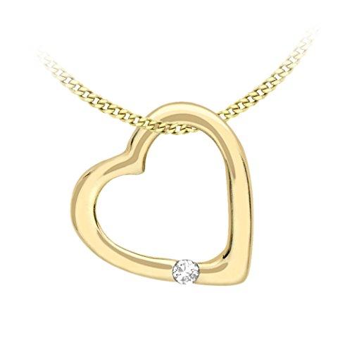 Carissima Gold Collana Ajustabile con Pendente da Donna in Oro Giallo, Bianco 9K (375) con Diamante 0.005ct, 41-46 cm