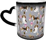 AOOEDM Tazas de café Beagle Helado Raza de perro Verano Postre Comida Gris Sensible al calor que cambia de color Taza en el cielo Taza de cerámica Regalos personalizados para amantes de la familia Am
