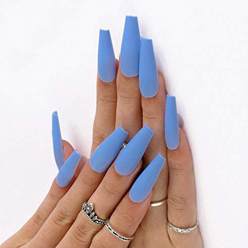 Handcess Coffin Mate Uñas postizas Bailarina azul larga Presione en las uñas Color puro Cubierta completa Uñas postizas en las uñas para mujeres y niñas