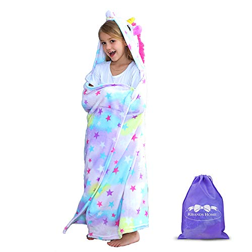 RIBANDS HOME Hooded Unicorn Blanket| Silky Soft Wearable Hoodie Blanket for Kids, Toddlers, Children| Animal Hoodie Cloak, Throw Blanket w/Horn & Mane| Rainbow & Stars Variations - Rainbow Sparkle
