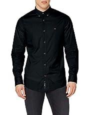 قميص كاجوال بأكمام طويلة من قماش البوبلين المرن للرجال من تومي هيلفيغر