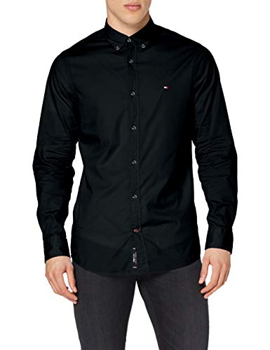 Tommy Hilfiger Herren CORE STRETCH SLIM POPLIN SHIRT Freizeithemd, Schwarz (Flag Black 083), X-Large
