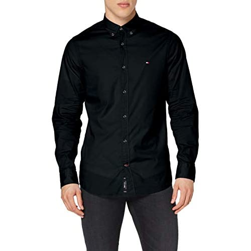 Tommy Hilfiger Men's Core Stretch Slim Poplin Shirt Casual, Midnight Blue, XXX-Large