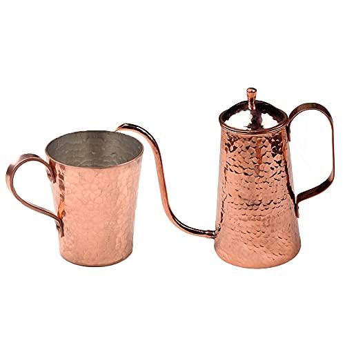 XXSC-ZC Taza de Agua de Cobre Puro, Copa de Vino, Taza de té, Taza de café, Taza de Desayuno, Taza de Jugo, hervidor de Cobre y Conjunto de Taza de Cobre, Regalos creativos Hechos a Mano
