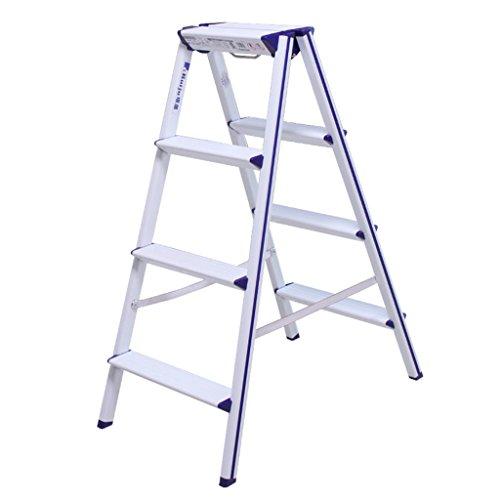 LRZLZY Folding Aluminiumlegierung multifunktionales Fischgrät-Ladder verdickten Haushaltsleiter Geländer DREI, Vier und fünf Schritte Stabilität und Sicherheit (Color : White)
