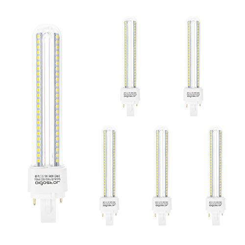 Aigostar 183653 - pack de 5 Bombilla PLC 2U, tubo de15 W, Luz fría 6400K.
