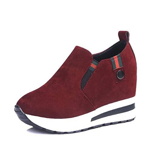 Damesschoenen Met Sleehak Retro Suède Ademend Hoogte Toenemende Sneakers Afslanken Fitness Swing Loafers Casual Instapschoenen Met Plateauzool
