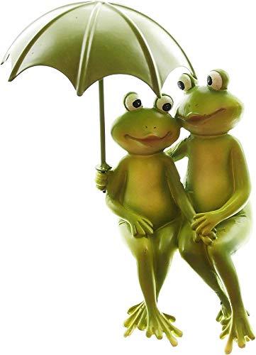 Dekoleidenschaft Froschpaar mit Schirm, Maritime Deko Figur aus Polyresin 12x9x18 cm, Kantenhocker, Liebespaar