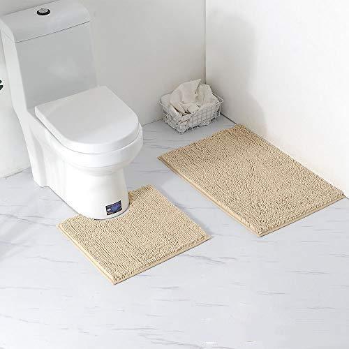 Alfombras de baño para baño, alfombras de baño Antideslizantes y Juego de alfombras con Absorbente de Agua, baño Suave para pies, Lavable a máquina (Camello)