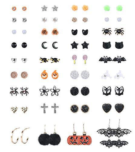 Finrezio 36 Coppie Orecchino Con Perno Per Halloween Da Donna Monili Di Costume Cosplay Carino Di Halloween Set Di Orecchini a Cerchio Pendenti (Pipistrello Fantasma Di Zucca Di Spider)