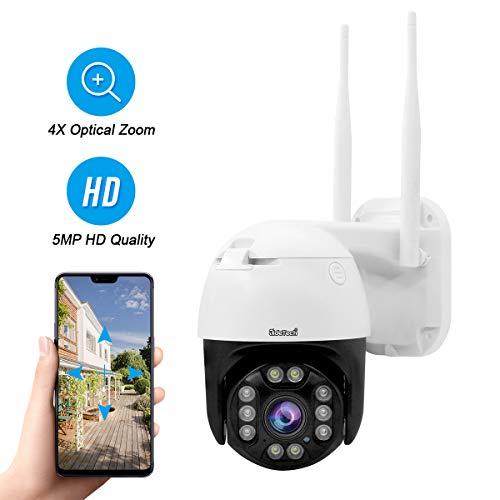 PTZ WiFi Dome IP Kamera 5MP 1920p unterstützt 4X Optical Zoom 2 Wege Audio Bewegungserkennung 70m Nachtsicht, IP66 wasserdichte Onvif H.265 Außenüberwachung,128G SD Kartensteckplatz