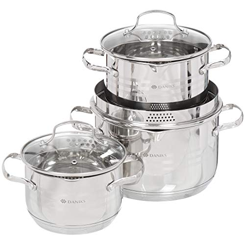Daniks Tokio Induction-Safe Stainless Steel Stock Pot Set with Glass Lid (1.9 L + 2.9 L + 4.75 L)