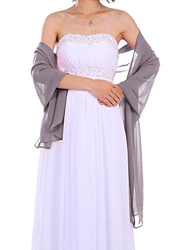 Dressystar Chiffon Stola Schal für Kleider in verschiedenen Farben Grau 160cm*50cm