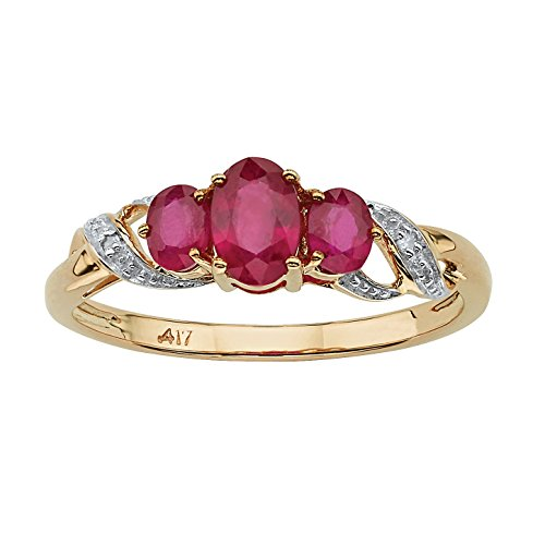 10K Yellow Gold Oval Cut Genuine Red Ruby and Diamond Accent 3 Stone Ring