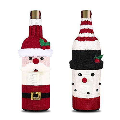 You - 2 Piezas de Tapa de Botella de Vino de Navidad, Cubierta de Suéter de Botella de Vino Hecho a Mano para...