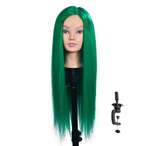26''-28'' Groene Mannequin Hoofd Cosmetologie Haar Styling Ontwerp Training Hoofd Kapper Manikin Pop Hoofd Synthetisch Haar met Gratis Klem