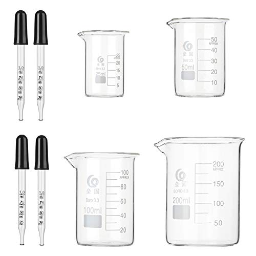 Hyber&Cara Becherglas niedrige Form mit Ausguss, Boro 3.3 Griffin-Becherglas 25 ml 50 ml 100 ml 200 ml mit 4 Stück 1 ml Glaspipette